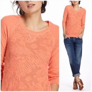 Anthropologie Coral Crochet Knit Pullover
